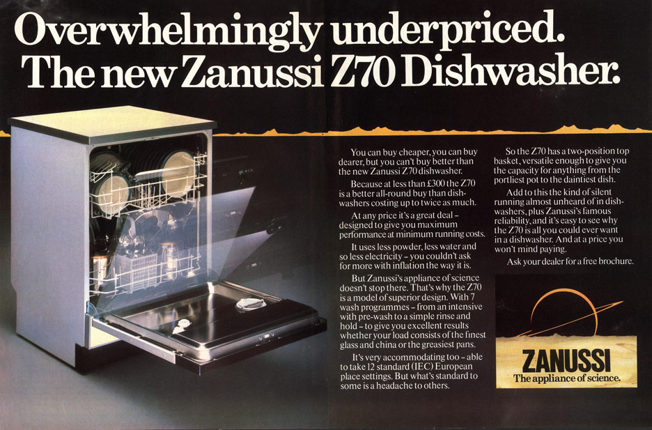 Zanussi Dishwashers 1990s UK appliances slogans The Appliance of Science